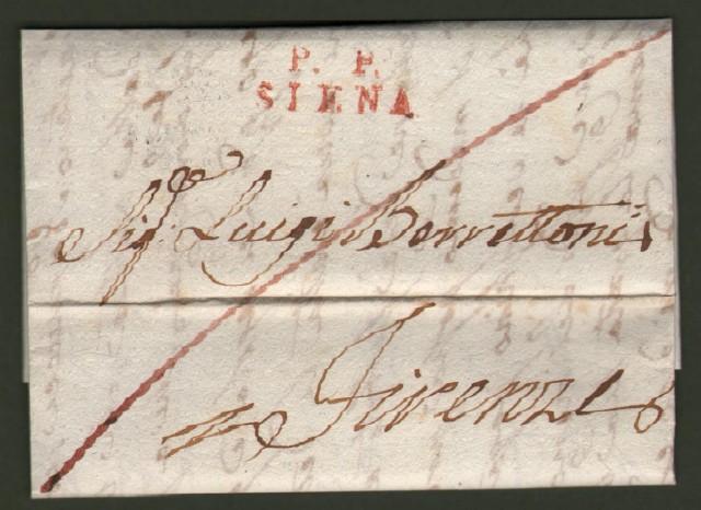 Prefilatelica. Toscana. P.P. SIENA in rosso su lettera del 10 marzo 1824 per Firenze.