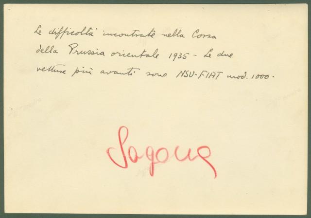 AUTOMOBILISMO. Vetture partecipanti alla Corsa della Prussia orientale nel 1935.
