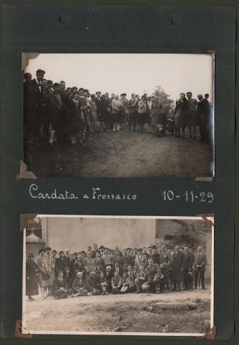 ALPI COZIE, Frossasco, Torino. Cardata a Frossasco 10.11.29. Due cartoline fotografiche