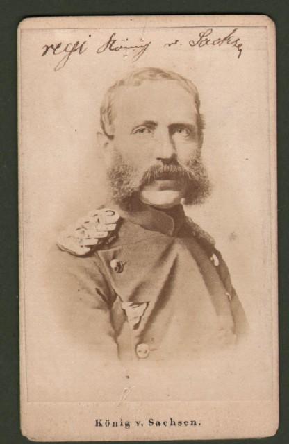 Alberto di Sassonia (1832 '– 1904). Re di Sassonia dal 1873. Raffigurato in divisa a mezzo busto.