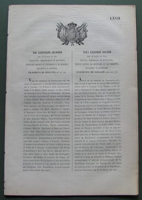Toscana - posta. Notificazione del 1851.