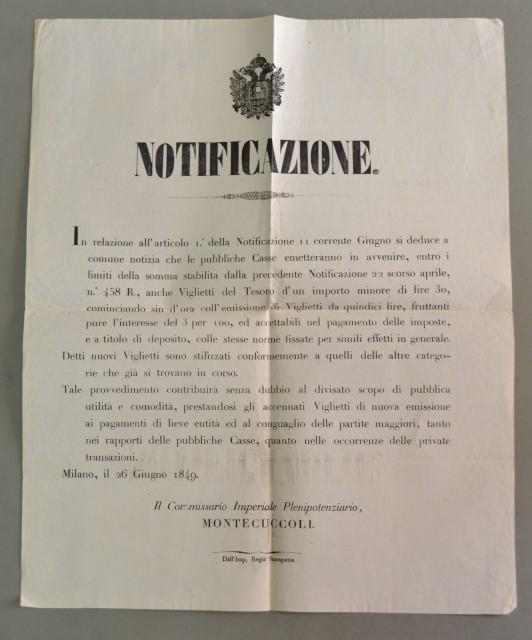 BUONI DEL TESORO. Lombardo Veneto. Notificazione del 1848 relativa all'emissione di nuovi Viglietti del tesoro.
