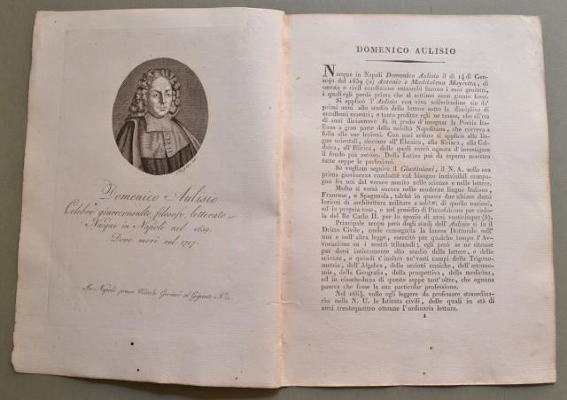 REGNO DI NAPOLI. Campania. DOMENICO AULISIO, nato a Napoli nel 1639, ivi morì nel 1717. Celebre giureconsulto, filosofo, letterato.