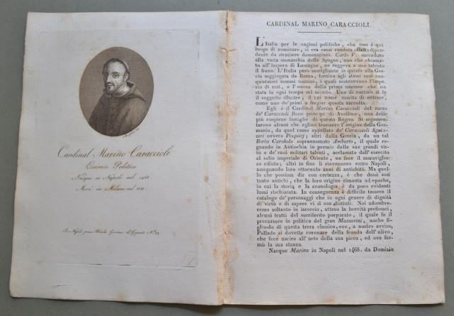 REGNO DI NAPOLI. Campania. CARDINAL MARINO CARACCIOLI, nato a Napoli nel 1468, morì a Milano nel 1538. Esimio politico.