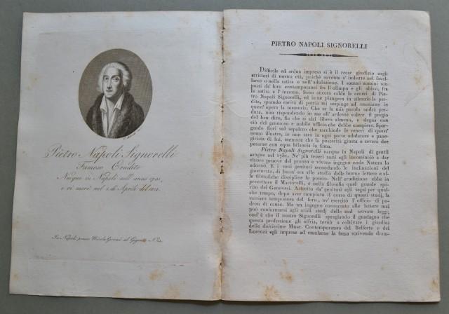 REGNO DI NAPOLI. Campania. PIETRO NAPOLI SIGNORELLI, nato a Napoli nel 1731, ivi morì nel 1815. Famoso erudito.
