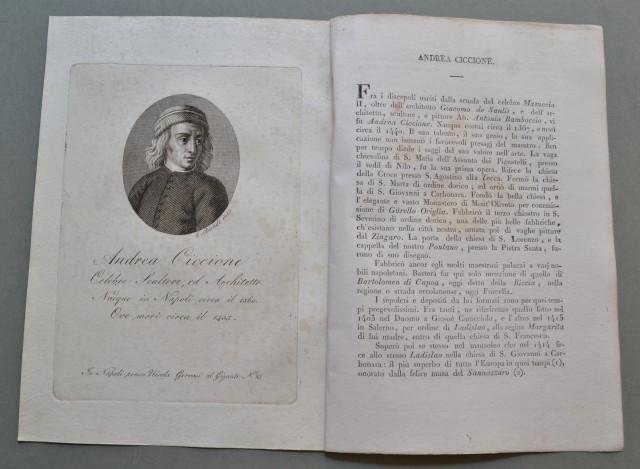 REGNO DI NAPOLI. Campania. ANDREA CICCIONE, nato a Napoli nel 1360, ivi morì circa nel 1435. Celebre scultore ed architetto.