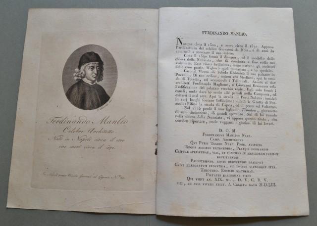 REGNO DI NAPOLI. Campania. FERDINANDO MANLIO, nato a Napoli nel 1500, ivi morì nel 1570. Celebre architetto.
