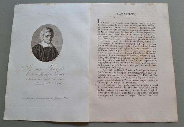 REGNO DI NAPOLI. Campania. SIMONE PORZIO, nato a Napoli nel 1497,ivi morì nel 1554. Celebre filosofo e letterato.