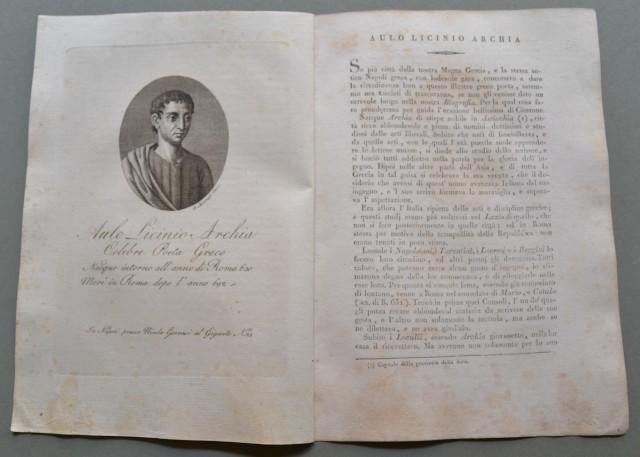 REGNO DI NAPOLI. AULO LICINIO ARCHIA, nato ad Archia nel 630, morì a Roma nel 692. Celebre poeta greco.