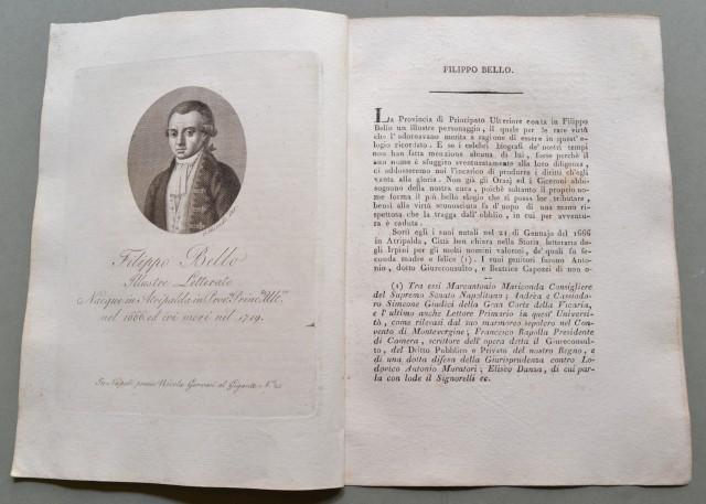 REGNO DI NAPOLI. Campania. FILIPPO BELLO, nato ad Atripalda (Avellino) nel 1666, ivi morì nel 1719. Illustre letterato.