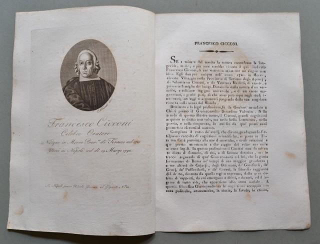 REGNO DI NAPOLI. Abruzzo. FRANCESCO CICCONI, nato a Morro (Teramo) nel 1720, morì a Napoli nel 1792. Celebre oratore.