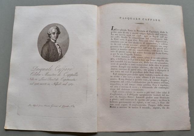 REGNO DI NAPOLI. Puglia. PASQUALE CAFFARO, nato a Lecci provincia di Capitanata nel 1706, morì a Napoli nel 1787. Celebre maestro di Cappella.