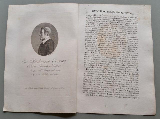 REGNO DI NAPOLI. Puglia. CAVALIERE BELISARIO CORENZI, nato ad Acaja  (Lecce) nel 1558, morì a Napoli nel 1643. Celebre letterato e pittore.