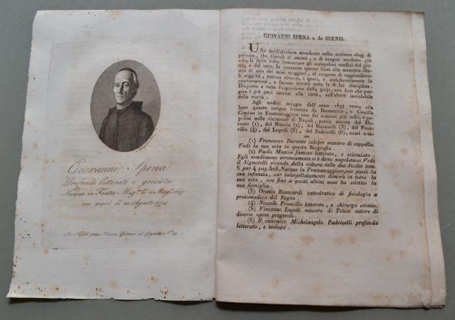 REGNO DI NAPOLI. Campania. GIOVANNI SPENA, nato a Fratta Maggiore (Napoli) nel 1697, ivi morì nel 1774. Insigne letterato.