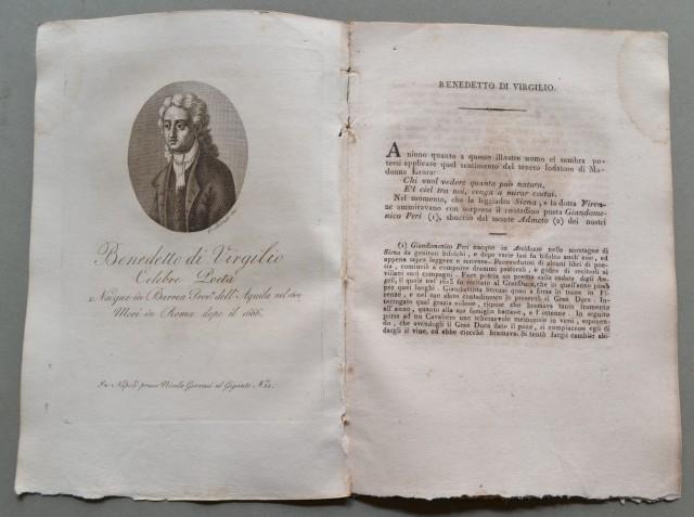 REGNO DI NAPOLI. Abruzzo. BENEDETTO DI VIRGILIO, nato a Barrea (Aquila) nel 1602, morì a Roma dopo il 1666. Celebre poeta.