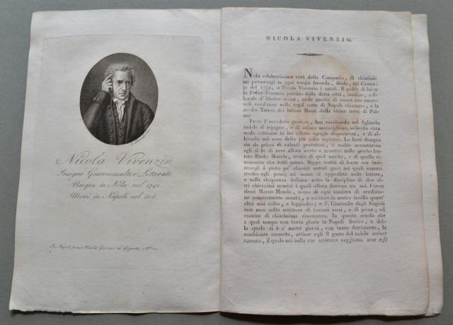 REGNO DI NAPOLI. Campania. NICOLA VIVENZIO, nato a Nola (Napoli) nel 1742, morì a Napoli nel 1816. Insigne giureconsulto.