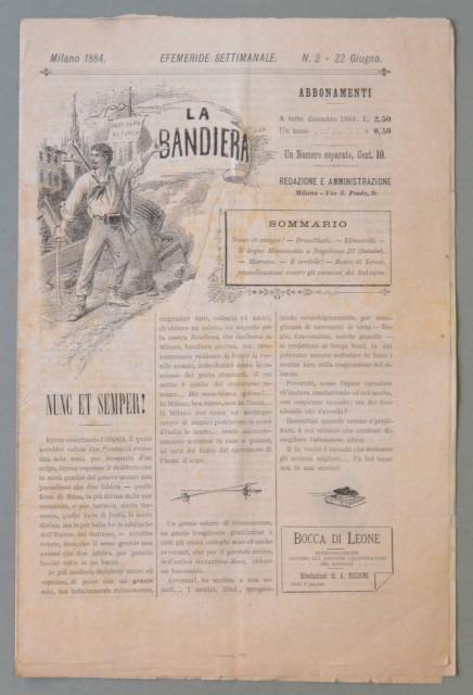 LA BANDIERA. settimanale edito in Milano. Numero 2 del Giugno 1884.