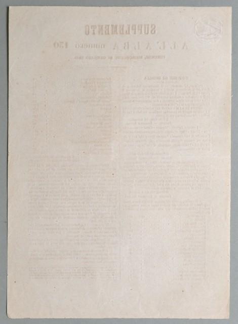 """Risorgimento italiano- Insurrezione di Palermo. '""""SUPPLEMENTO ALL''ALBA numero 130. Firenze, mercoledì, 26 gennaio 1848"""
