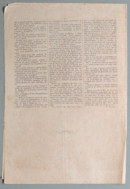 Risorgimento italiano. PIO IX E CARLO ALBERTO. Contiene 3 articoli (agosto '– novembre 1848) a firma di Enrico Montazio violentemente antipapali e antiaustriaci