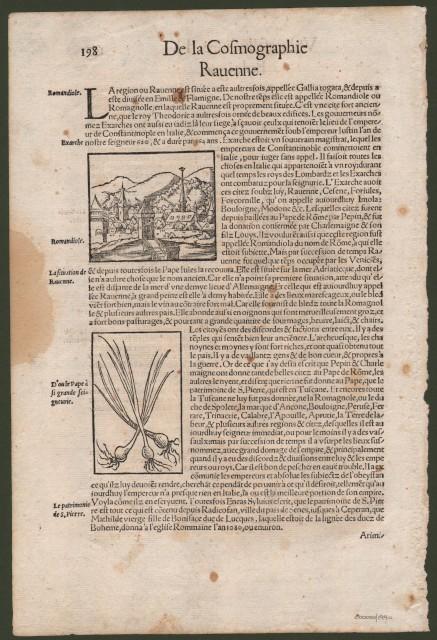 EMILIA ROMAGNA. BOLOGNA e RAVENNA. Foglio originale (cm 21x31) tratta dall'opera di Sebastian Munster