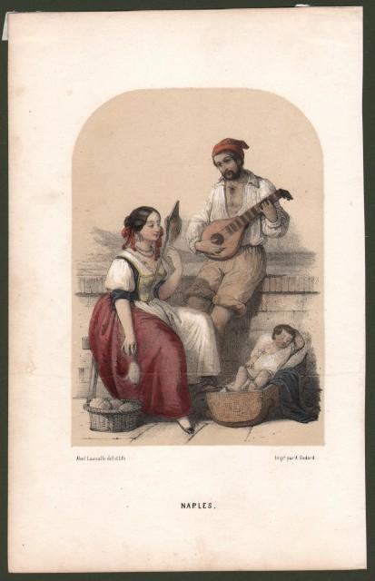 NAPOLI. Costumi tipici. Litografia a colori, circa 1840.