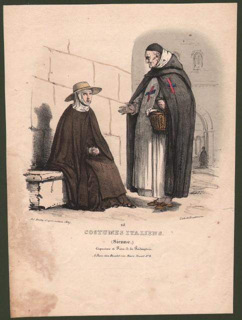 SIENA, Toscana. Costumes Italiens (Sienne). Capucine et Frere de la Redemption.