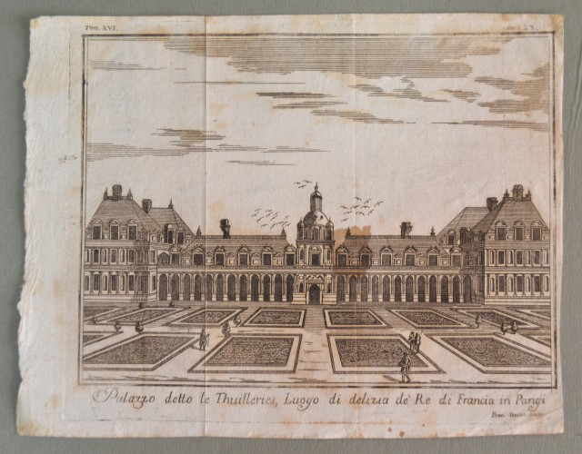 PARIGI. Palazzo detto le Thuilleries. Acquaforte tratta da Salmon (circa 1750).