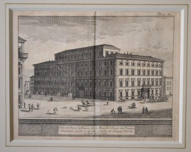ROMA. Veduta del 1707. Palais du Prince Iustiniani sur la Place de S. Louis des Francois. Bella acquaforte tratta dall'opera di De Rogissart , Les delices de l'Italie.