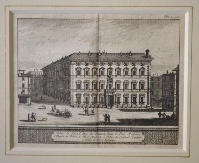 ROMA. Veduta del 1707. Palais du Grand Duc de Toscane dans la Place Madama.  Bella acquaforte tratta dall'opera di De Rogissart, Les delices de l'Italie.