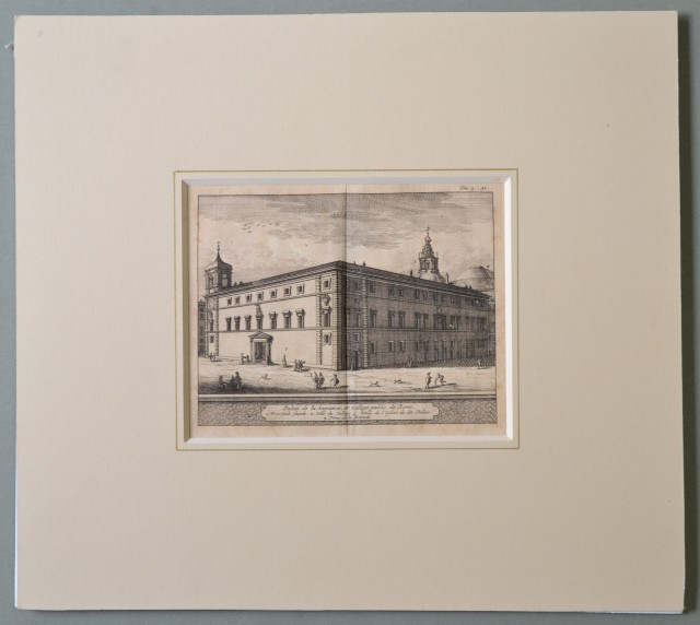 ROMA. Veduta del 1707. Palais de la Sapience, et College public de Rome. Bella acquaforte tratta dall'opera di De Rogissart , Les delices de l'Italie.