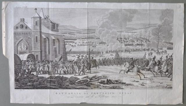 NAPOLEONE. Prussia. BATTAGLIA DI PREUSSICH - EYLAU in Prussia nel dì 9 febbraio 1809. Grande incisione all'acquaforte di Verico su disegno di Speinebizi