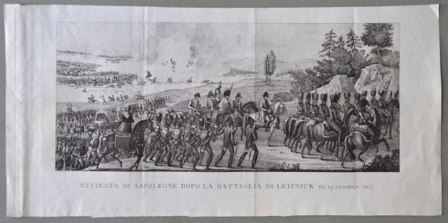 NAPOLEONE. Germania. RITIRATA DI NAPOLEONE DOPO LA BATTAGLIA DI LEIPSICK (il 19 ottobre 1813).  Grande incisione all'acquaforte.