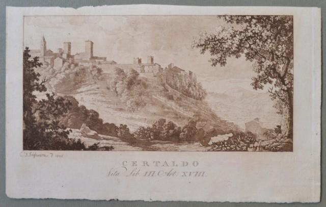 TOSCANA. 3 rare vedute di grande qualità e finezza incise su rame all'acquatinta: Certaldo, Valle di Mugnone, Valle delle Donne