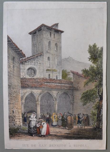TOSCANA. Vue de San Beneito a Ripoll. Litografia acquarellata.