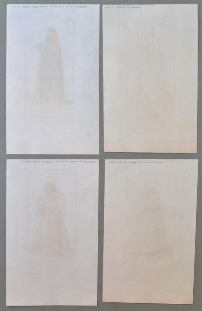 LOMBARDIA - MILANO. Quattro tavole, all'acquaforte, con costumi femminili di Milano riproducenti quelle contenuti nell'opera di Vecelio. Provengono da opera spagnola settecentesca.