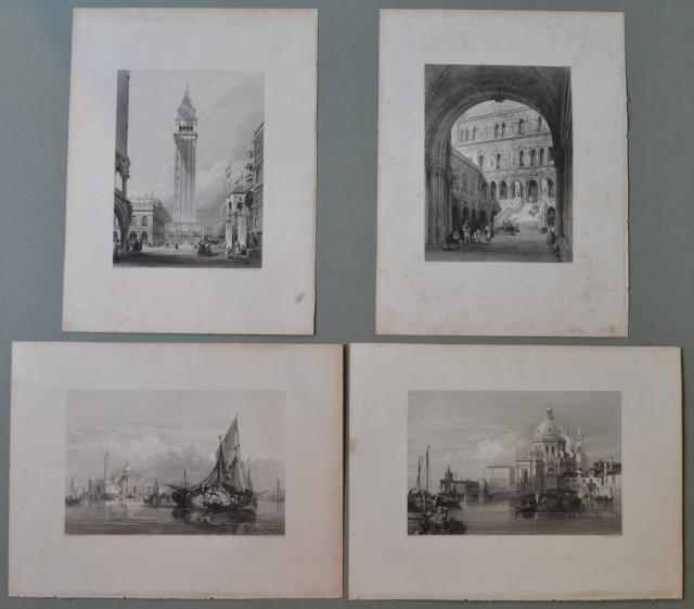 VENETO '– VENEZIA. Insieme di 4 belle vedute, raffiguranti scorci della città e laguna.