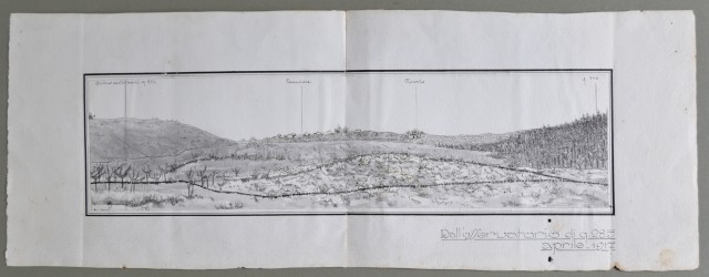 FRIULI - SLOVENIA - I° GUERRA. Disegno a china di ottima fattura, Mostra una veduta degli abitati Temnizza (Temenizza) e Novelo (Novello).. aprile 1917